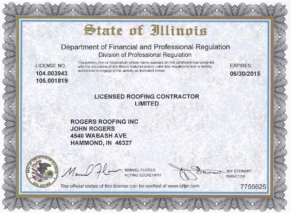 Rogers Roofing License Amp Insurance Northwest Indiana